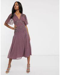 ASOS Floral Embellished Cape Midi Dress-purple