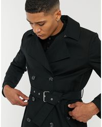 ASOS Shower Resistant Double Breasted Trench Coat - Black