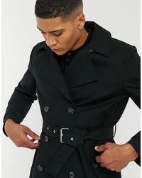 ASOS Regenbestendige Double-breasted Trenchcoat - Zwart