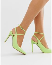 ASOS Туфли Выбеленного Неоново-зеленого Цвета На Каблуке-шпильке И С Квадратным Носком - Зеленый