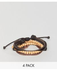 Icon Brand - Brown Combo Bracelet In 4 Pack - Lyst