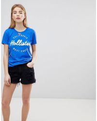Hollister - High Waist Girlfriend Denim Short With Raw Hem And Abrasions - Lyst