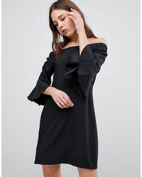 Glamorous Flare Sleeve Bardot Dress - Black