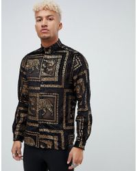ASOS - Regular Fit Tiger Sheer Shirt With Gold In Black - Lyst