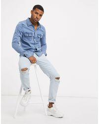 Liquor N Poker Camicia di jeans blu attillata