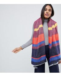 Oasis Knitted Scarf In Multi-coloured Stipe - Orange