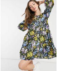 Warehouse Черное Ярусное Платье Мини C Цветочным Принтом -многоцветный