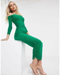 Missguided Присборенное Платье Миди -зеленый