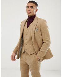 ASOS Wedding Slim Suit Jacket In 100% Wool Harris Tweed In Camel - Natural