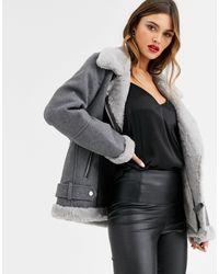 Vero Moda Серая Куртка Авиатор Из Материала С Добавлением Шерсти -серый