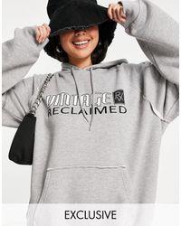 Reclaimed (vintage) Серый Меланжевый Худи Из Органического Хлопка В Стиле Унисекс С Логотипом Inspired-зеленый Цвет
