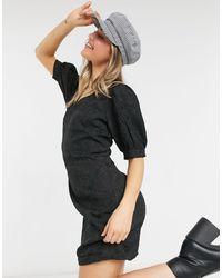 Pieces Черное Платье Мини С V-образным Вырезом И Пышными Рукавами -черный Цвет