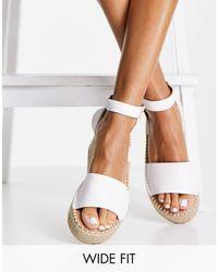 New Look Белые Эспадрильи На Плоской Платформе Для Широкой Стопы -белый