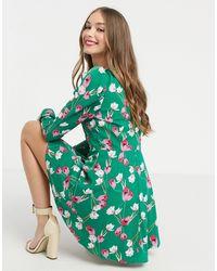 Girl In Mind Зеленое Платье Мини С Длинными Пышными Рукавами И Цветочным Принтом -мульти - Зеленый