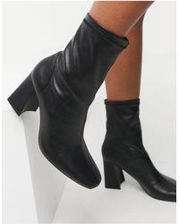 Bershka Patent Boot With Flared Heel - Black