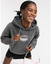 New Girl Order Oversized Hoodie With Diamante Fron Logo And Back Graphic - Grey