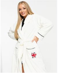 DKNY Cosy Logo Gift Wrapped Long Robe - White