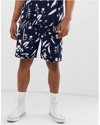 Bellfield Paint Stroke Print Wide Leg Chino Shorts - Blue