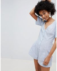 ASOS - Swing Playsuit With Button Front In Stripe - Lyst