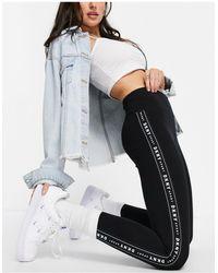 DKNY Leggings a sette ottavi con fettuccia con logo, colore nero