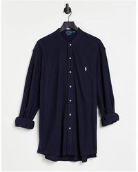 Polo Ralph Lauren Темно-синяя Приталенная Рубашка Из Пике С Воротником-стойкой И Логотипом В Виде Игрока В Поло -темно-синий
