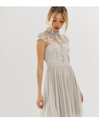 Chi Chi London - Mini Prom Dress With Lace Collar In Grey - Lyst