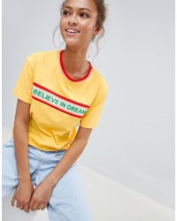 Bershka - I Believe In Dreams Slogan T Shirt - Lyst