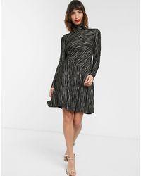 Warehouse Metallic Stripe Dress With High Neck - Black