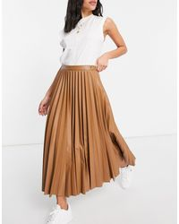 Mango Pleated Faux Leather Midi Skirt - Brown