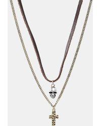 Icon Brand Collier avec pendentifs croix et tête de mort - Métallisé