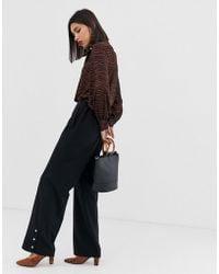 Vero Moda - Wide Leg Button Detail Trouser - Lyst