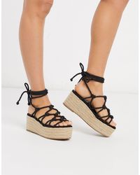 Truffle Collection Platform Espadrille Tie Leg Sandals - Black