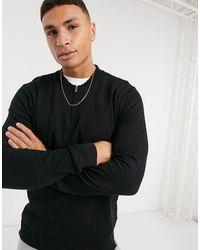 Burton Knitted Zip Neck Jumper - Black