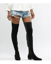 ASOS Asos Design Tall Kelby Flat Elastic Thigh High Boots - Black