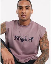 ASOS - Oversized Longline Sleeveless T-shirt With Print - Lyst
