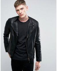 Esprit Faux Leather Biker Jacket - Black