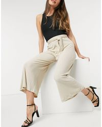 River Island Ribbed Wide Leg Trouser - Natural