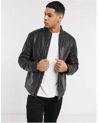 Calvin Klein Кожаная Байкерская Куртка -черный