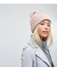 Stitch & Pieces - Cable Pom Beanie In Blush Pink - Lyst