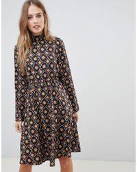 Vila - Tile Print High Neck Dress - Lyst