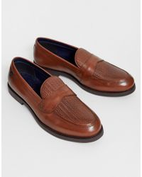 Farah Leather Woven Loafer In Tan - Brown