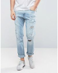 Hollister - Cropped Skinny Jeans Destroyed In Light Wash - Lyst