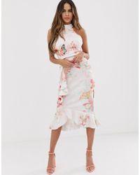 Lipsy Vestido midi ajustado con cuello subido y detalle de volante con estampado floral - Multicolor
