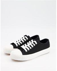Schuh Mia - Canvas Sneakers Met Veters En Plateauzool - Zwart