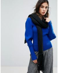 Urbancode - Oversized Knitted Scarf With Tassel Fringing - Lyst