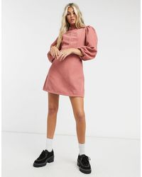 TOPSHOP Cord Baby Doll Mini Dress - Pink