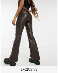 Collusion Faux Leather 90's Fit Flared Trousers - Brown