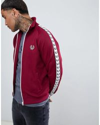 Fred Perry - Sports Authentic Taped Track Jacket In Burgundy - Lyst