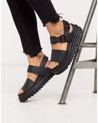 Dr. Martens - Voss Black Leather Flat Chunky Sandals - Lyst