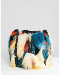 UGG - Lidiya Faux Fur Patchwork Bucket Bag - Lyst
